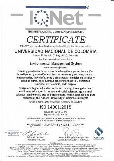 Certificado IQNET 14001-2015 julio 2018