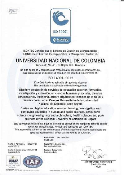 Certificado ISO 14001-2015 julio 2018