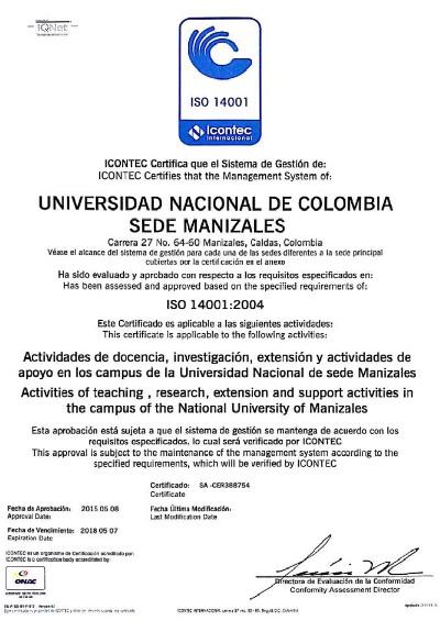 Certificado ISO 14001-2004 mayo 2015