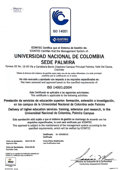 Certificado ISO 14001-2004 mayo 2016