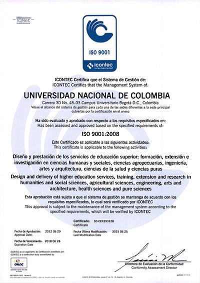 Certificado ISO 9001-2008 Mayo 2014