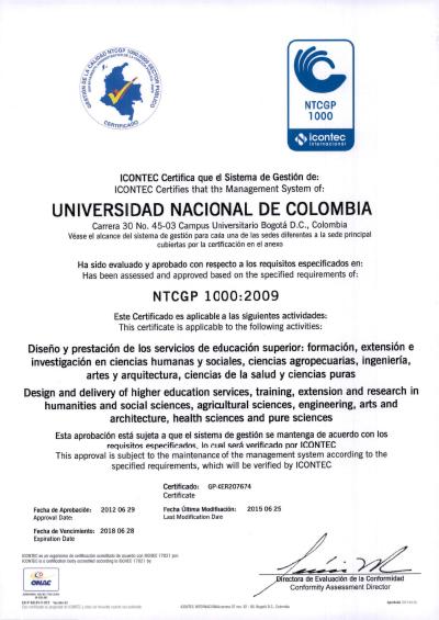 Certificado NTCGP1000 Mayo 2014